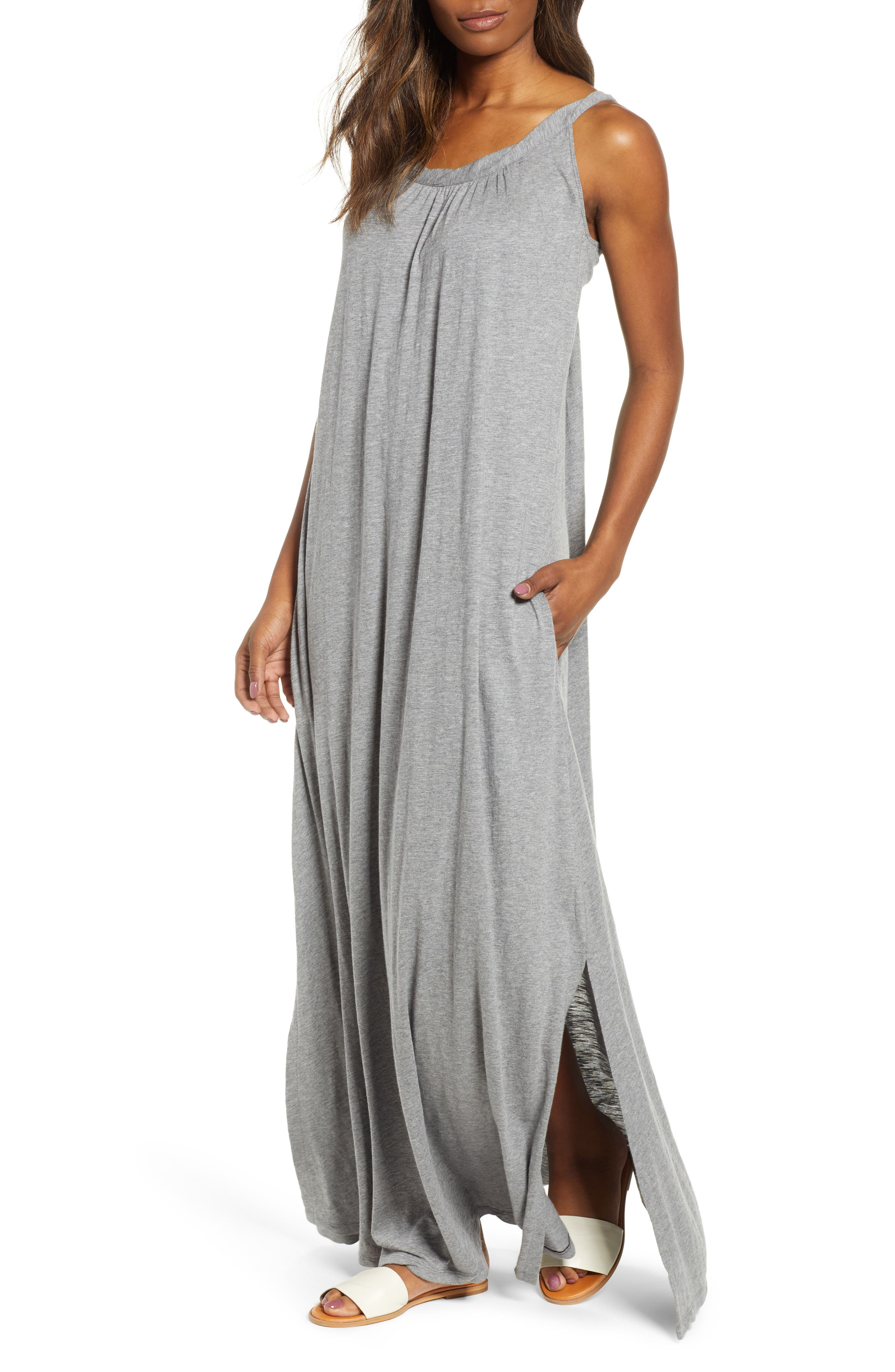 Caslon Twist Neck Maxi Dress, Grey