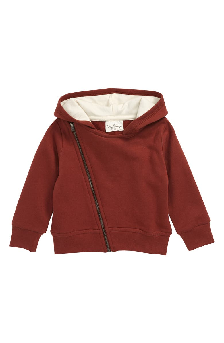 CITY MOUSE Moto Full Zip Organic Cotton Hoodie, Main, color, 220