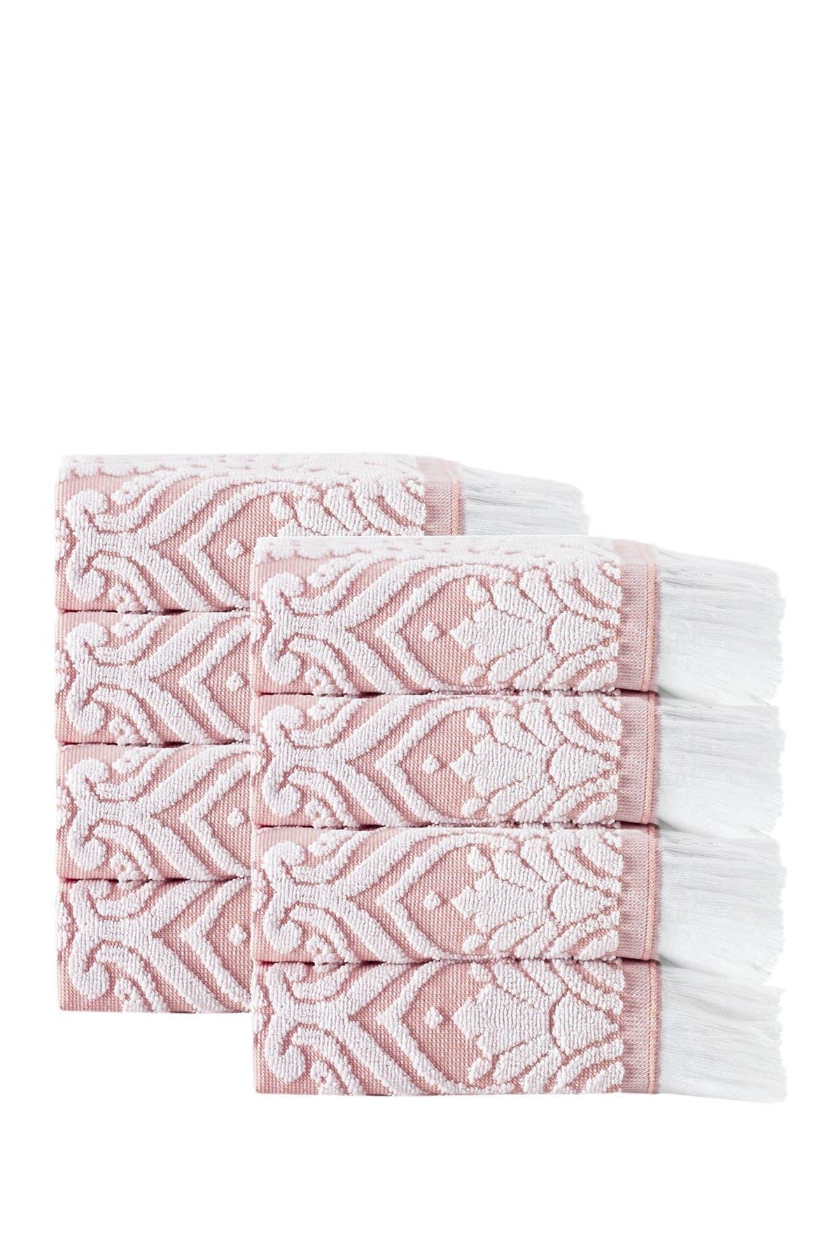 Image of ENCHANTE HOME Laina Turkish Cotton Pink Wash Towels - Set of 8