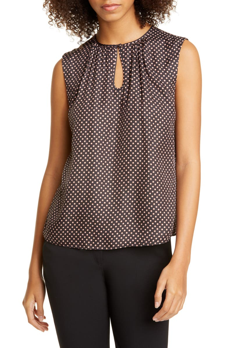 TAILORED BY REBECCA TAYLOR Deco Dot Sleeveless Silk Blend Blouse, Main, color, BLACK COMBO