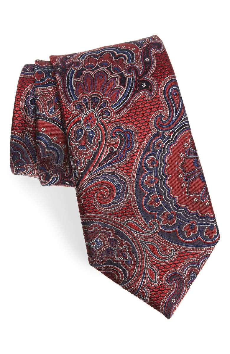 ERMENEGILDO ZEGNA Paisley Silk Tie, Main, color, MED RED FAN