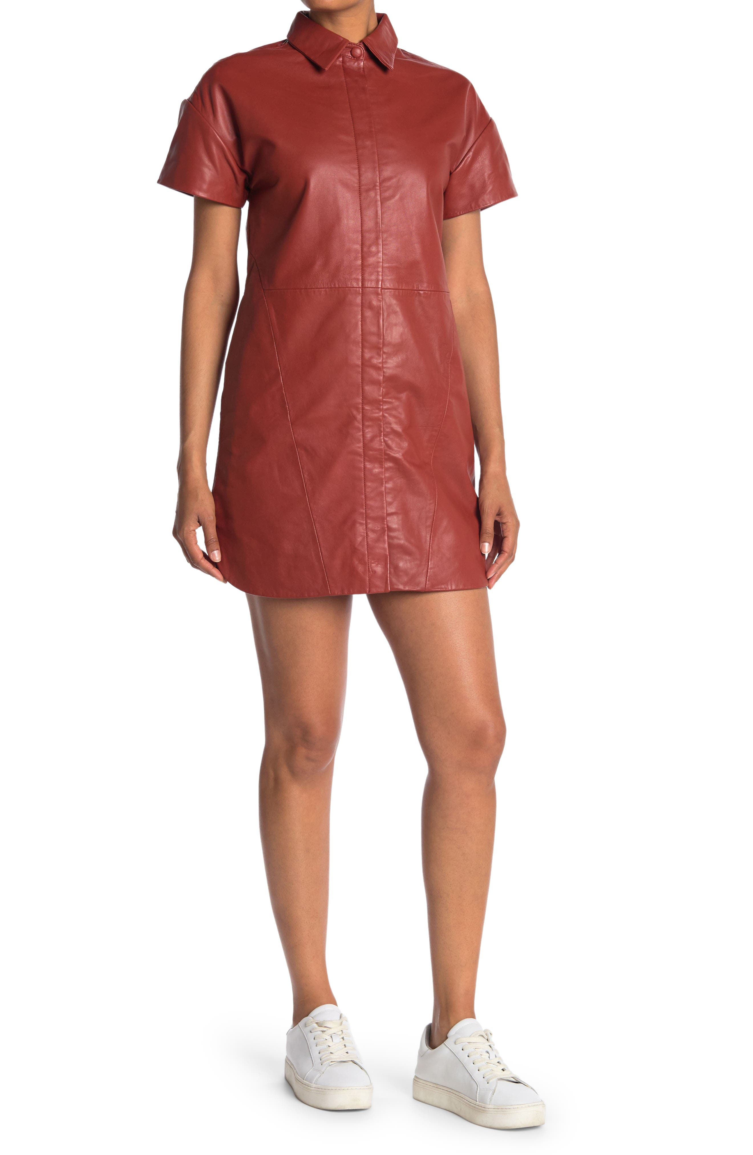 Image of Walter Baker Santana Leather Shirt Dress