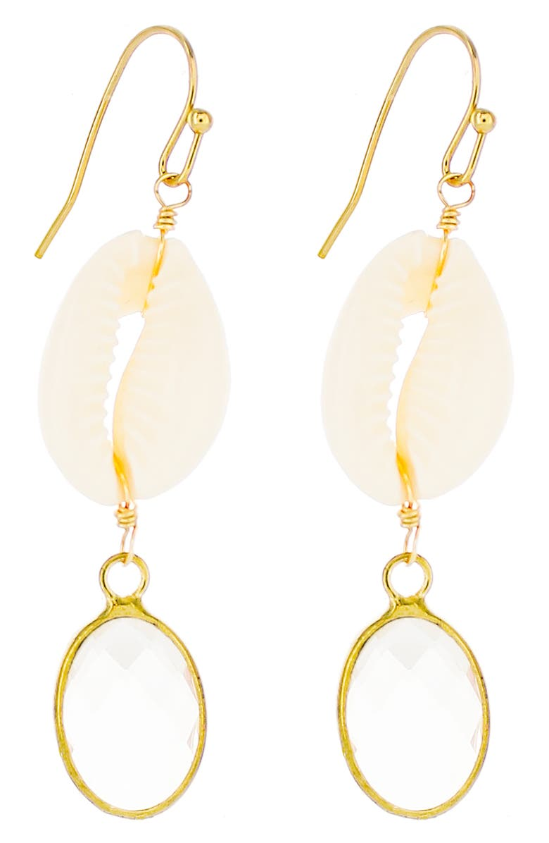 PANACEA Crystal Drop Earrings, Main, color, IVORY SHELL