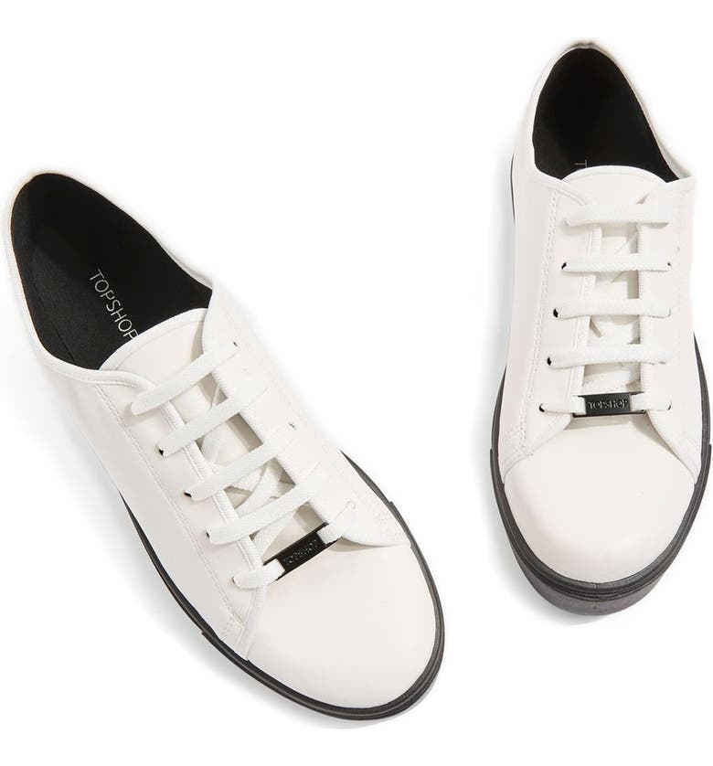 TOPSHOP Crush Waterproof Contrast Sole Sneaker, Main, color, 001