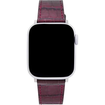 Rebecca Minkoff Croc Embossed Leather Apple Watch Strap