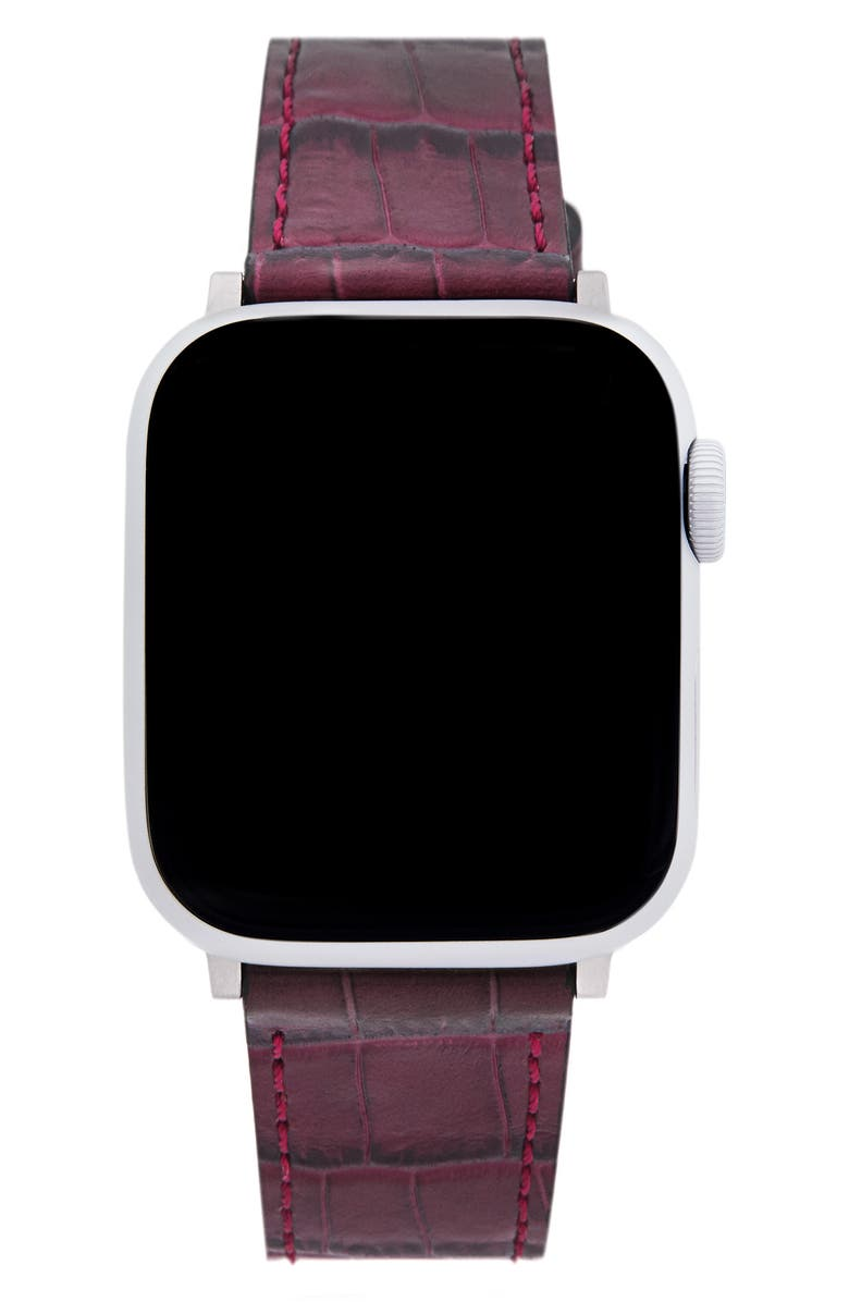 REBECCA MINKOFF Croc Embossed Leather Apple Watch<sup>®</sup> Strap, Main, color, PURPLE