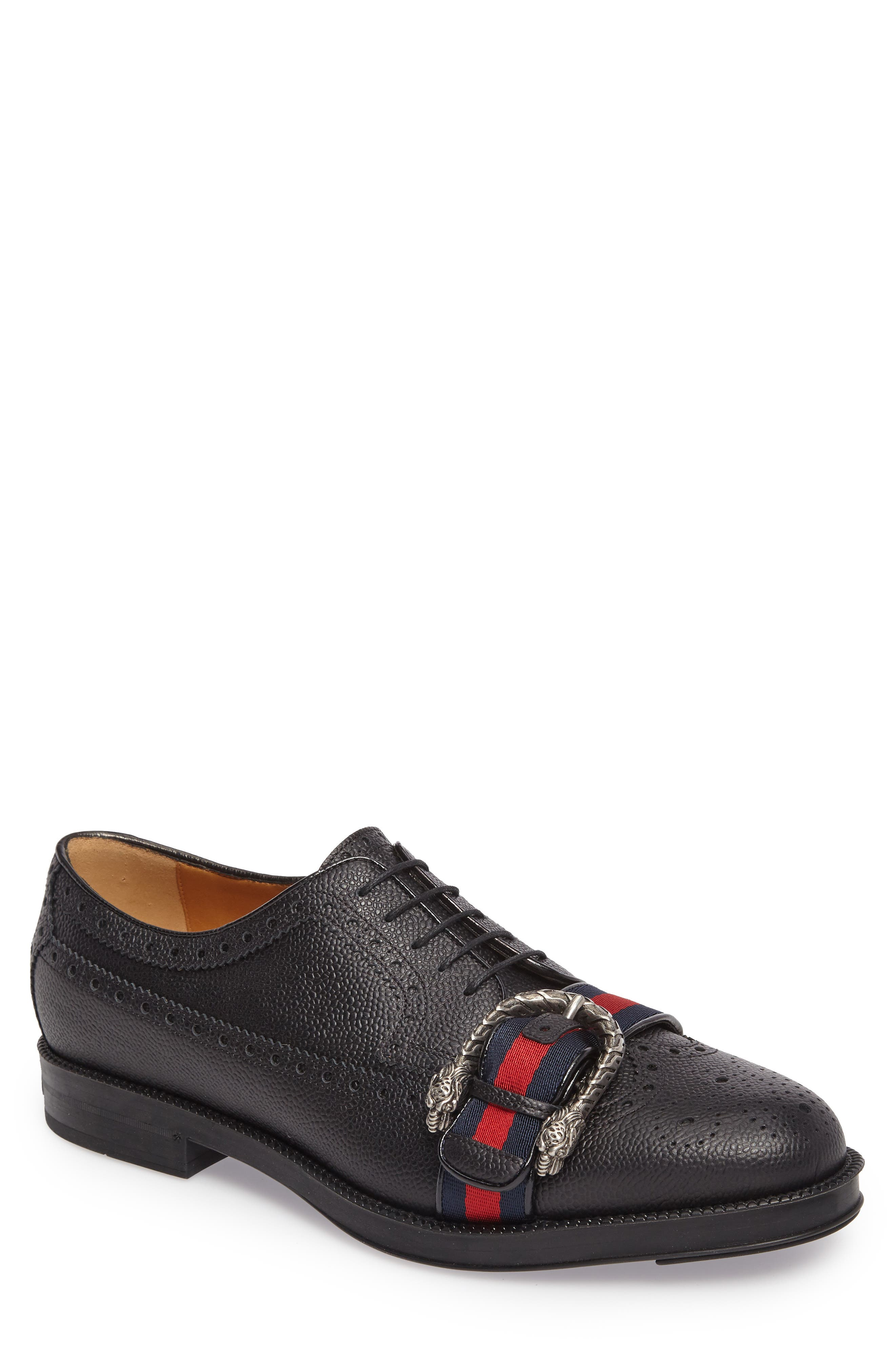Gucci Web Detail Leather Brogue Derby