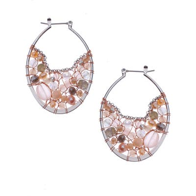 Nakamol Design Mix Stone & Freshwater Pearl Hoop Earrings