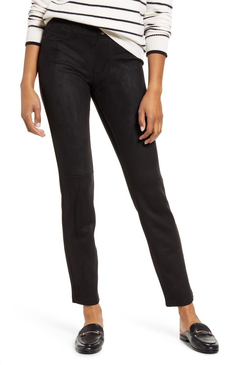 HUE Microsuede Leggings, Main, color, BLACK