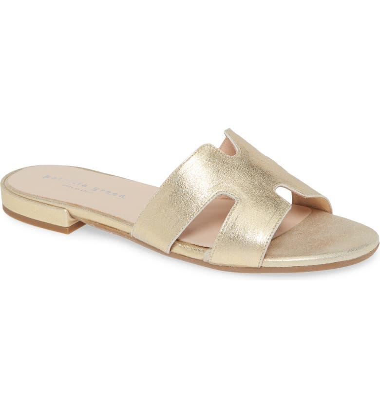 PATRICIA GREEN Hallie Slide Sandal, Main, color, GOLD METALLIC SUEDE