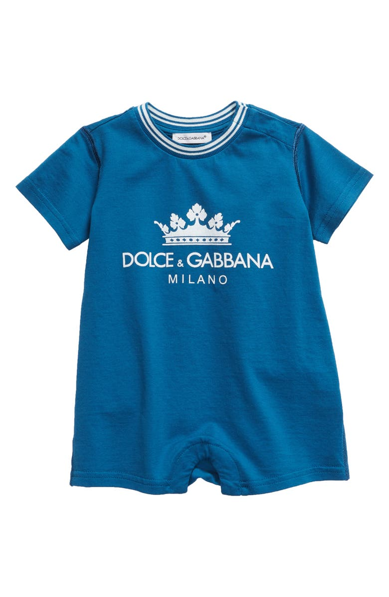 DOLCE&GABBANA Graphic Short Sleeve Romper, Main, color, 420