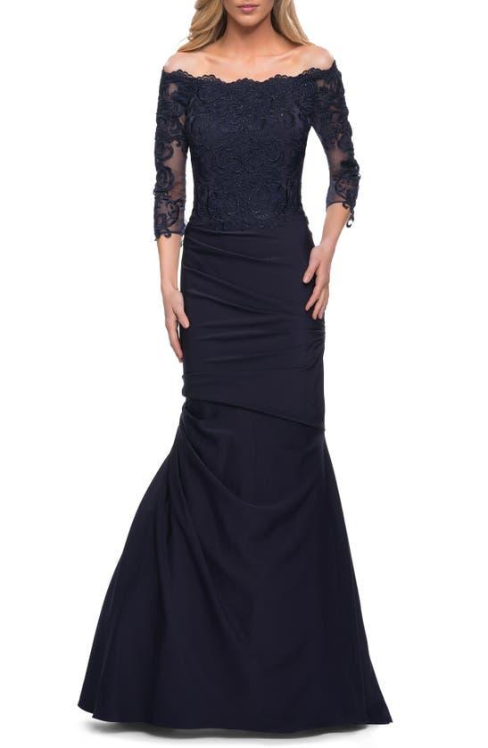 LA FEMME Gowns LACE BODICE MERMAID GOWN