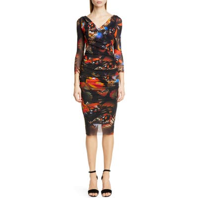 Fuzzi Butterfly Print Ruched Dress, Black