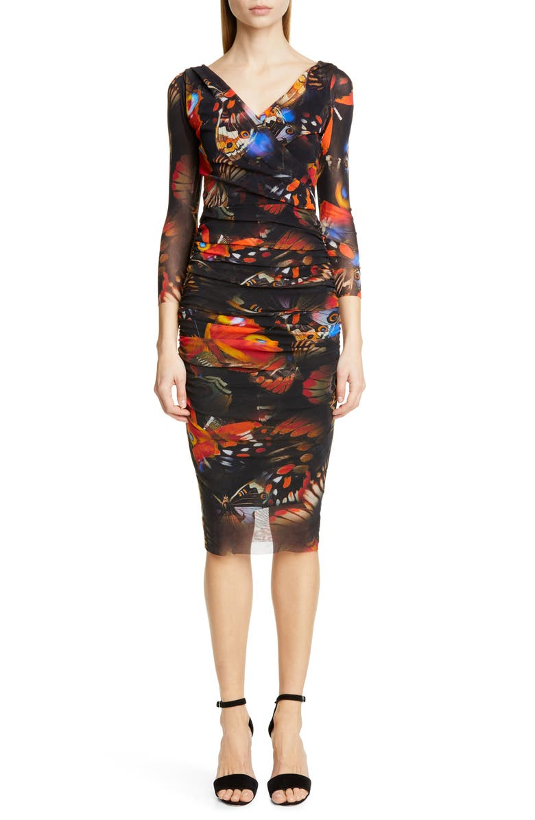FUZZI Butterfly Print Ruched Dress, Main, color, ANGOSTURA