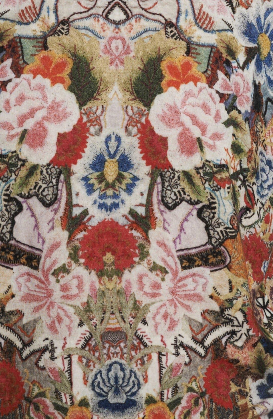 ,                             Patchwork Floral Print Sweater,                             Alternate thumbnail 3, color,                             649