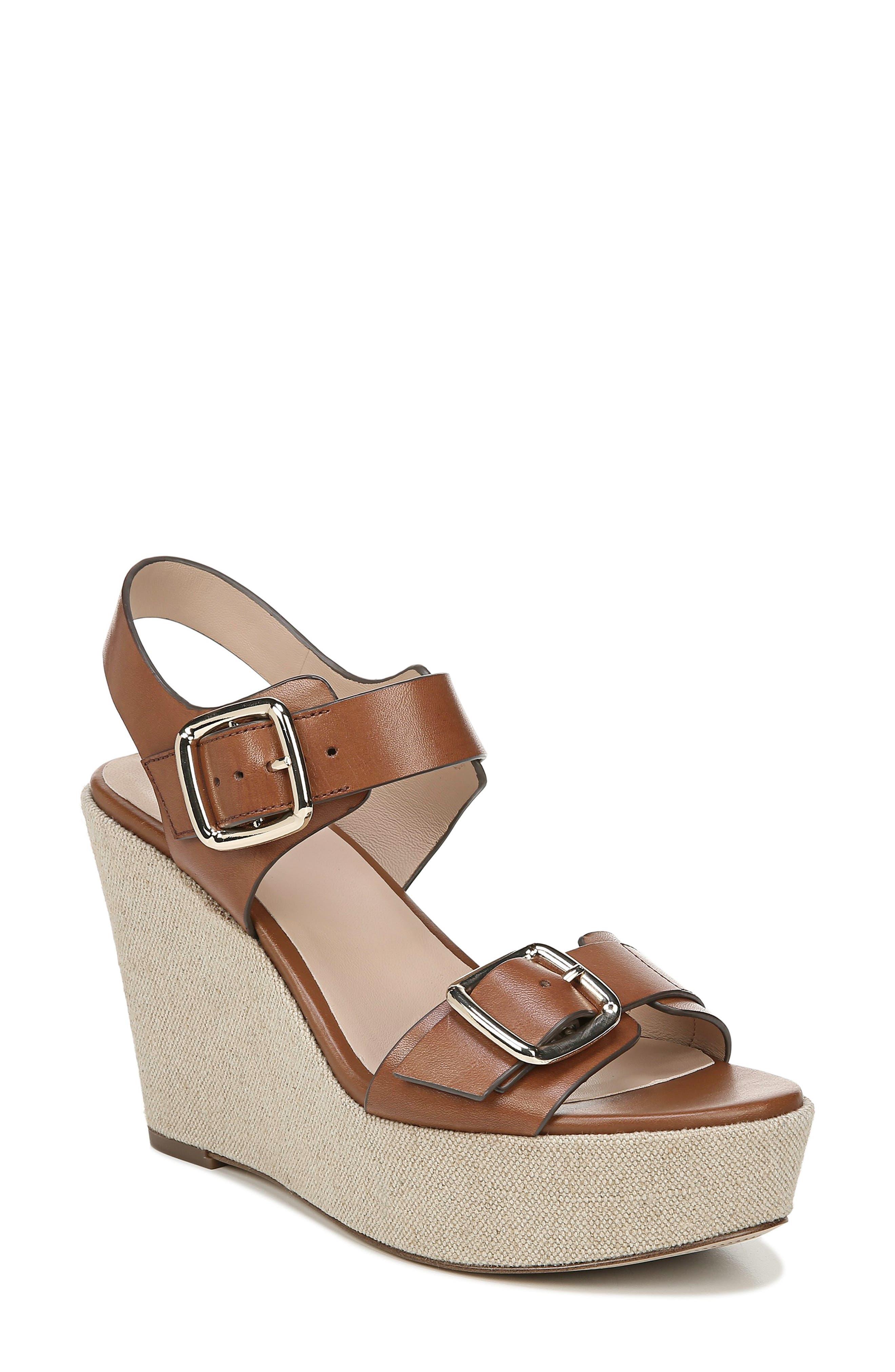 Cait Wedge Sandal, Main, color, SADDLE LEATHER