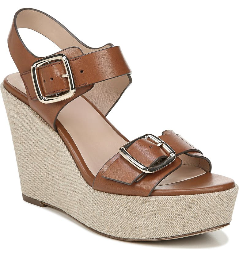 27 EDIT Cait Wedge Sandal, Main, color, SADDLE LEATHER