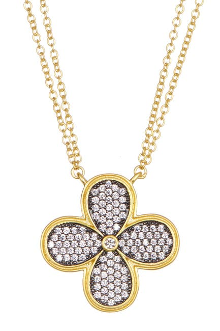 Image of Freida Rothman 14K Gold Plated Sterling Silver CZ Pave Clover Pendant Necklace