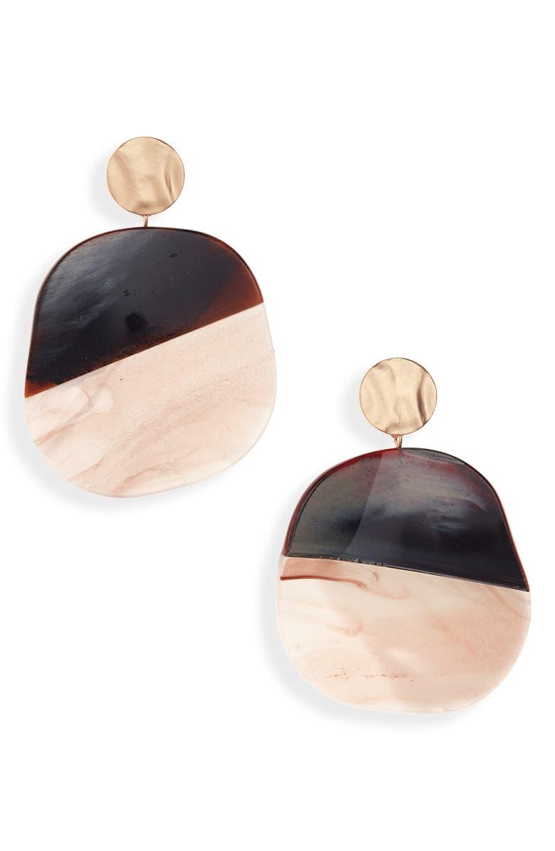 BP. Large Resin Circle Drop Earrings, Main, color, 210