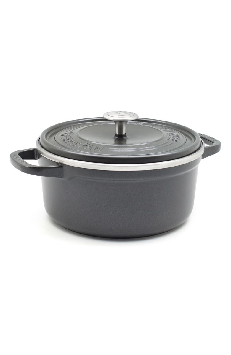 GREENPAN SimmerLite 5.5-Quart Ceramic Nonstick Cast Aluminum Dutch Oven, Main, color, SLATE GREY