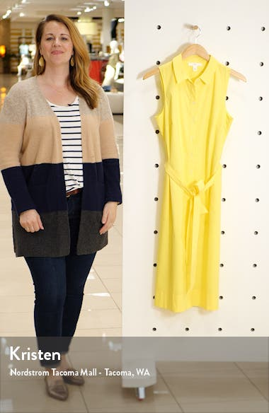 Sleeveless Cotton Blend Shirtdress, sales video thumbnail