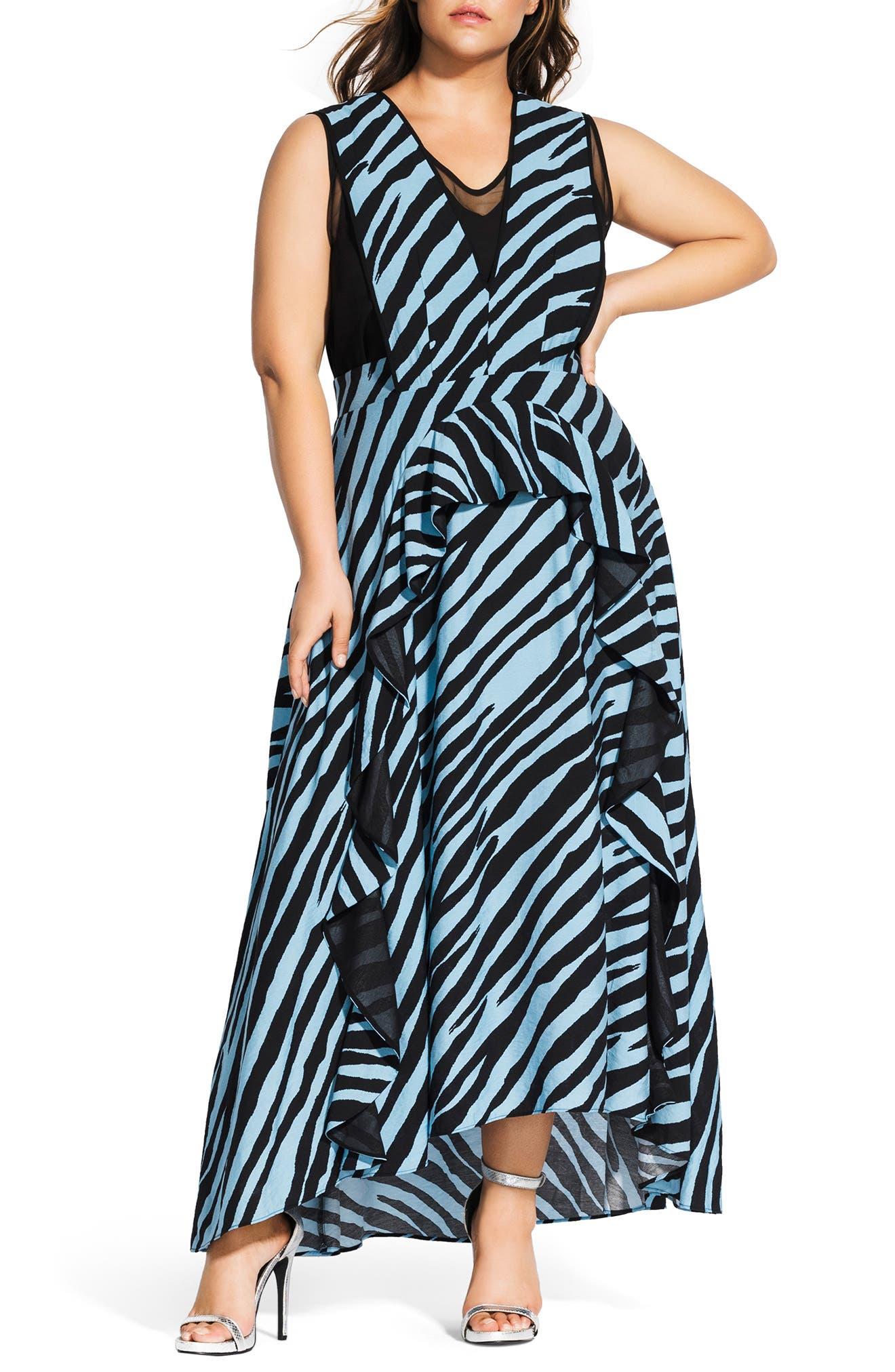 Plus Size City Chic Blue Zebra Maxi Dress, Black
