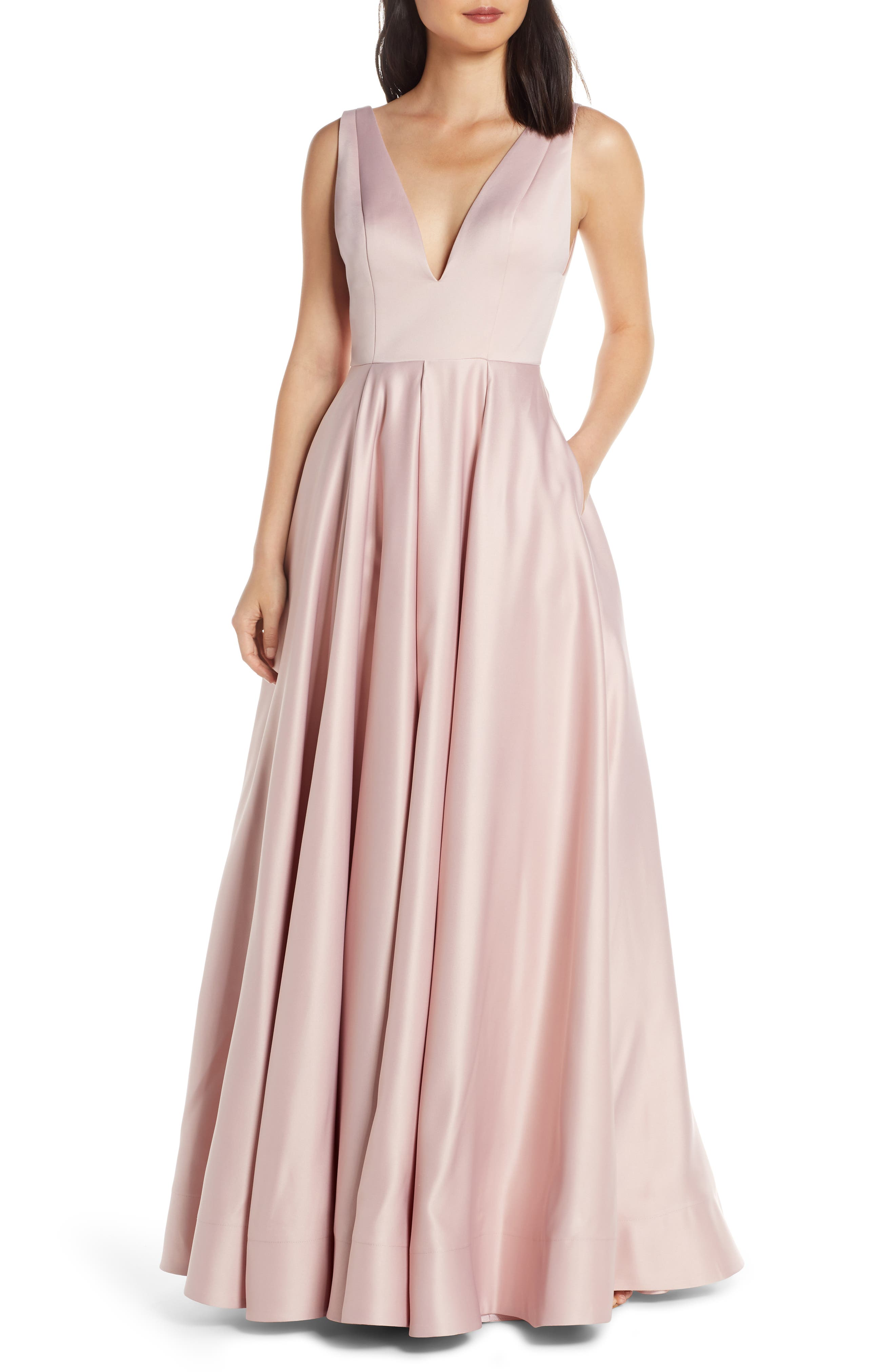 MAC Duggal Plunging V-Neck Ballgown, Pink