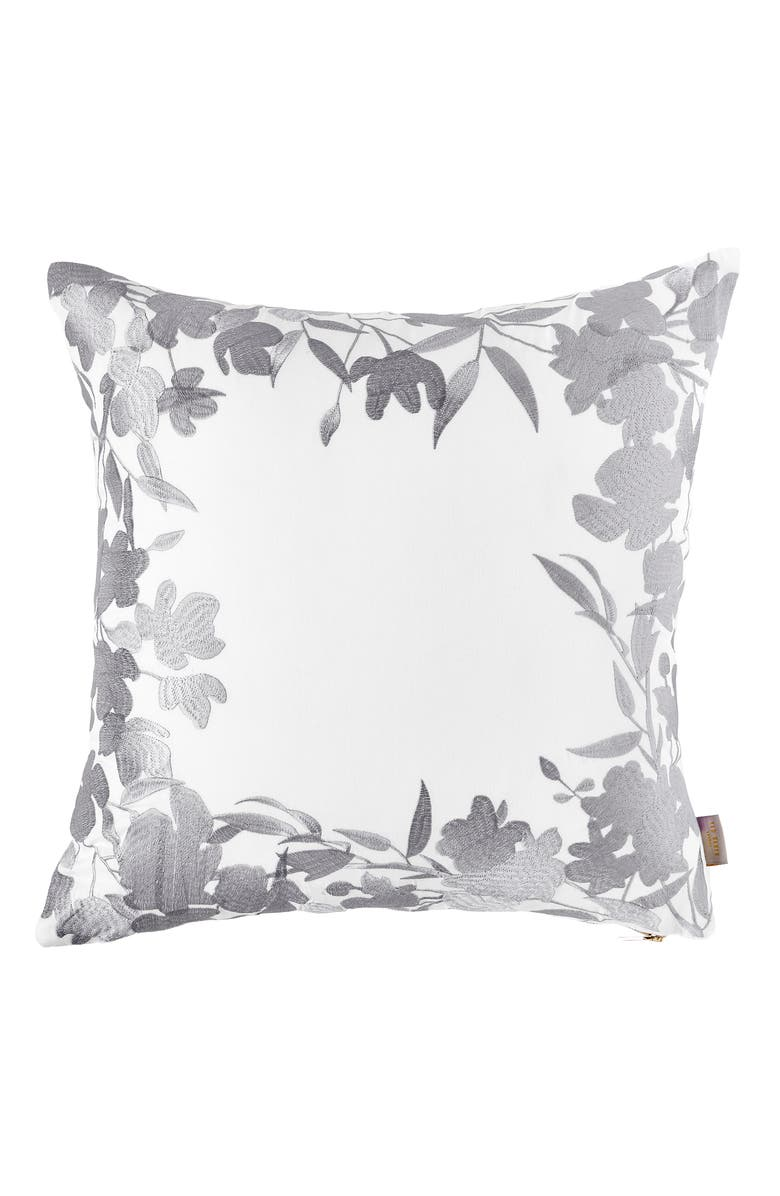 TED BAKER LONDON Floral Frame Accent Pillow, Main, color, WHITE/ GREY