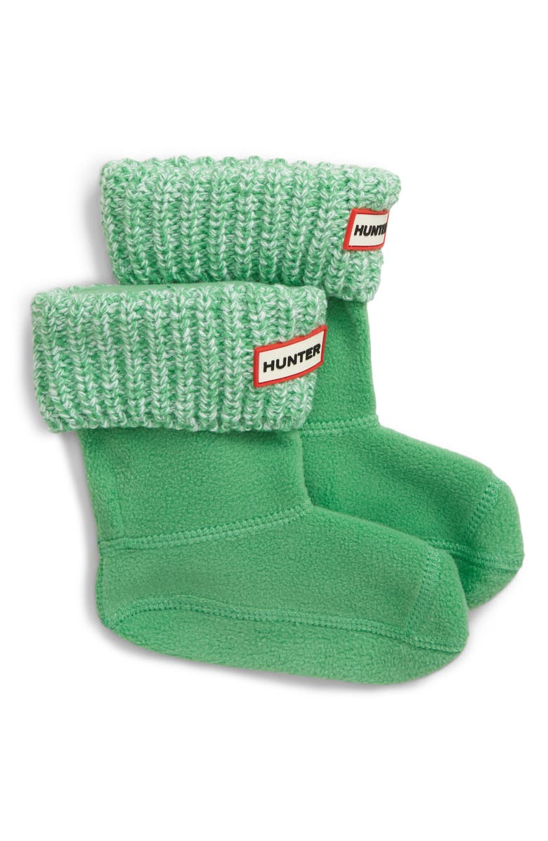 HUNTER Cardigan Knit Cuff Welly Boot Socks, Main, color, ELEMENT GREEN