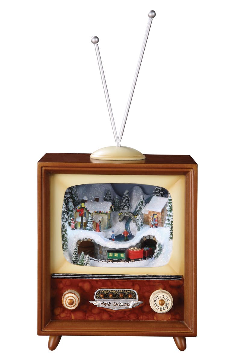 ROMAN Musical TV with Train Decoration, Main, color, WOODGRAIN / MULTI