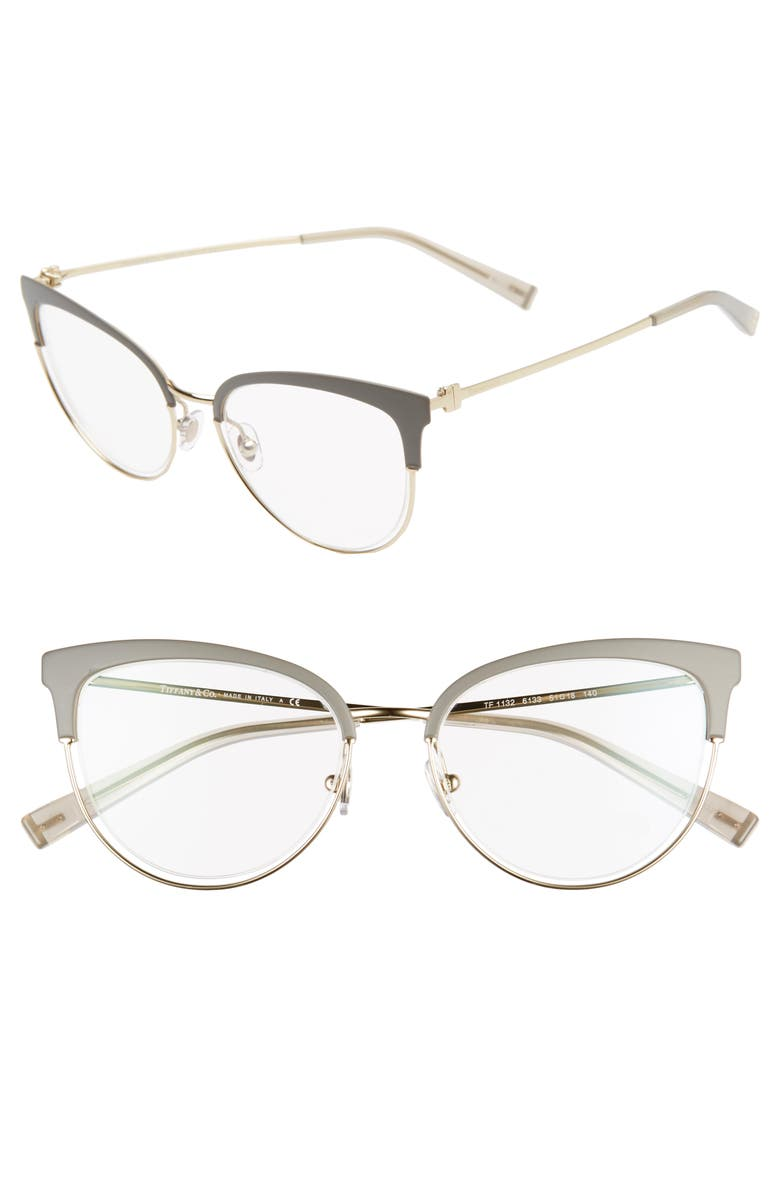TIFFANY & CO. 51mm Optical Glasses, Main, color, BROWN/ GOLD