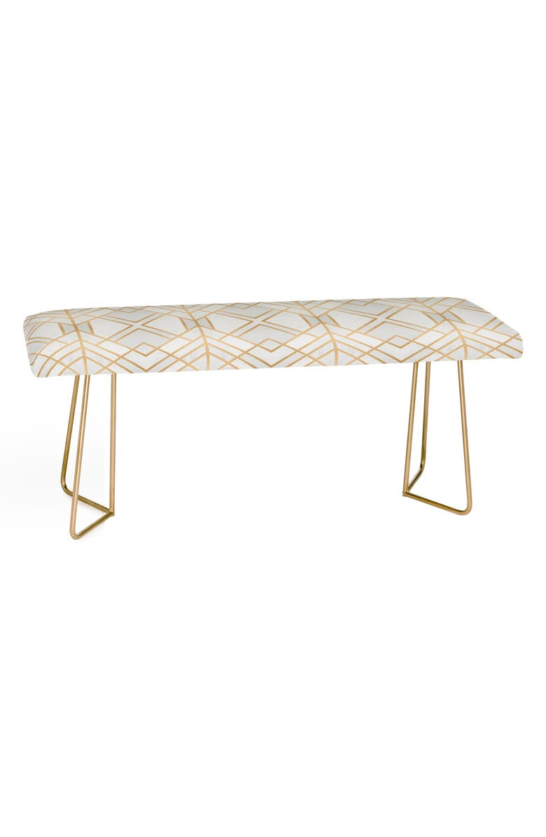 DENY DESIGNS Elisabeth Fredriksson Geo Bench, Main, color, WHITE