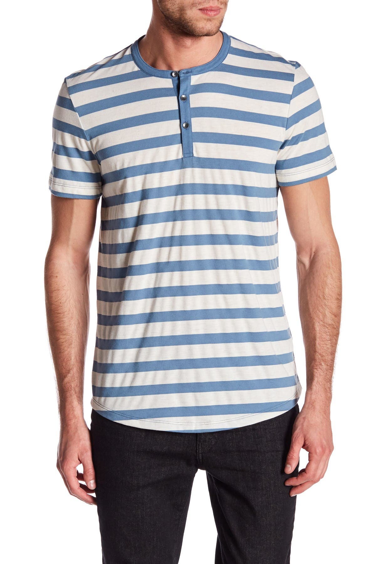 Image of Kenneth Cole New York Striped Henley Shirt
