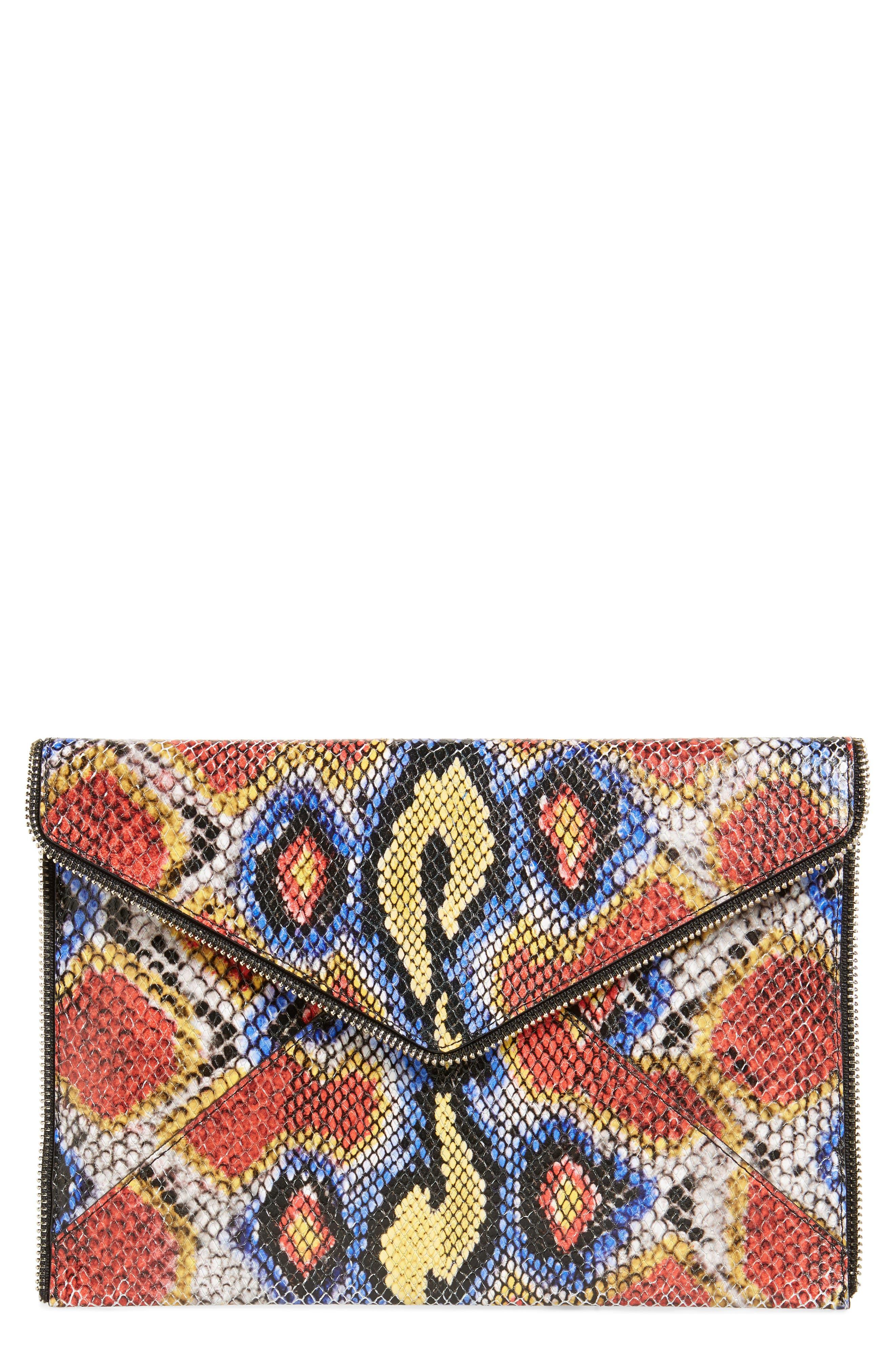 Leo Envelope Clutch, Main, color, YELLOW MULTI