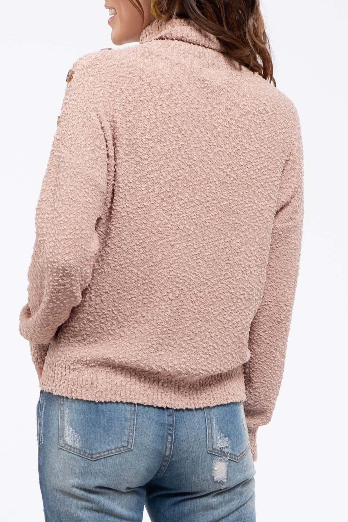 Image of Blu Pepper Button Turtleneck Sweater