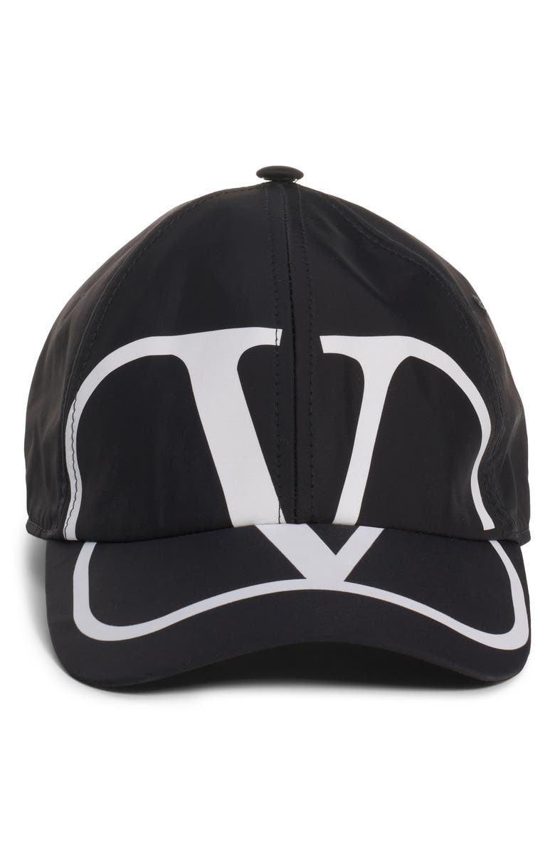 VALENTINO V Logo Cotton Baseball Cap, Main, color, BLACK/ WHITE