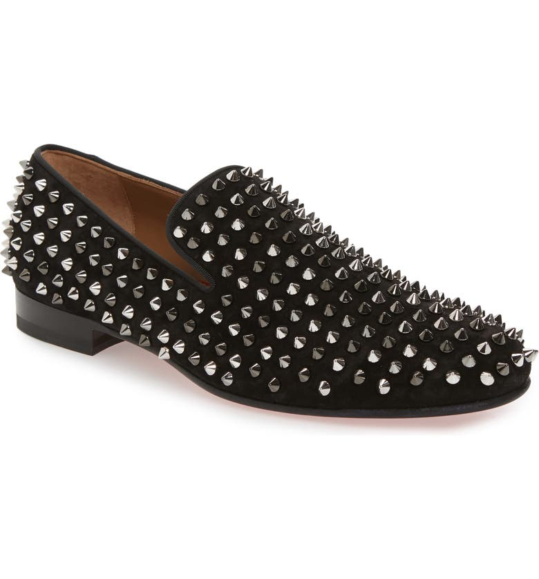 CHRISTIAN LOUBOUTIN Rollerboy Spike Smoking Slipper, Main, color, BLACK/DARK GUN