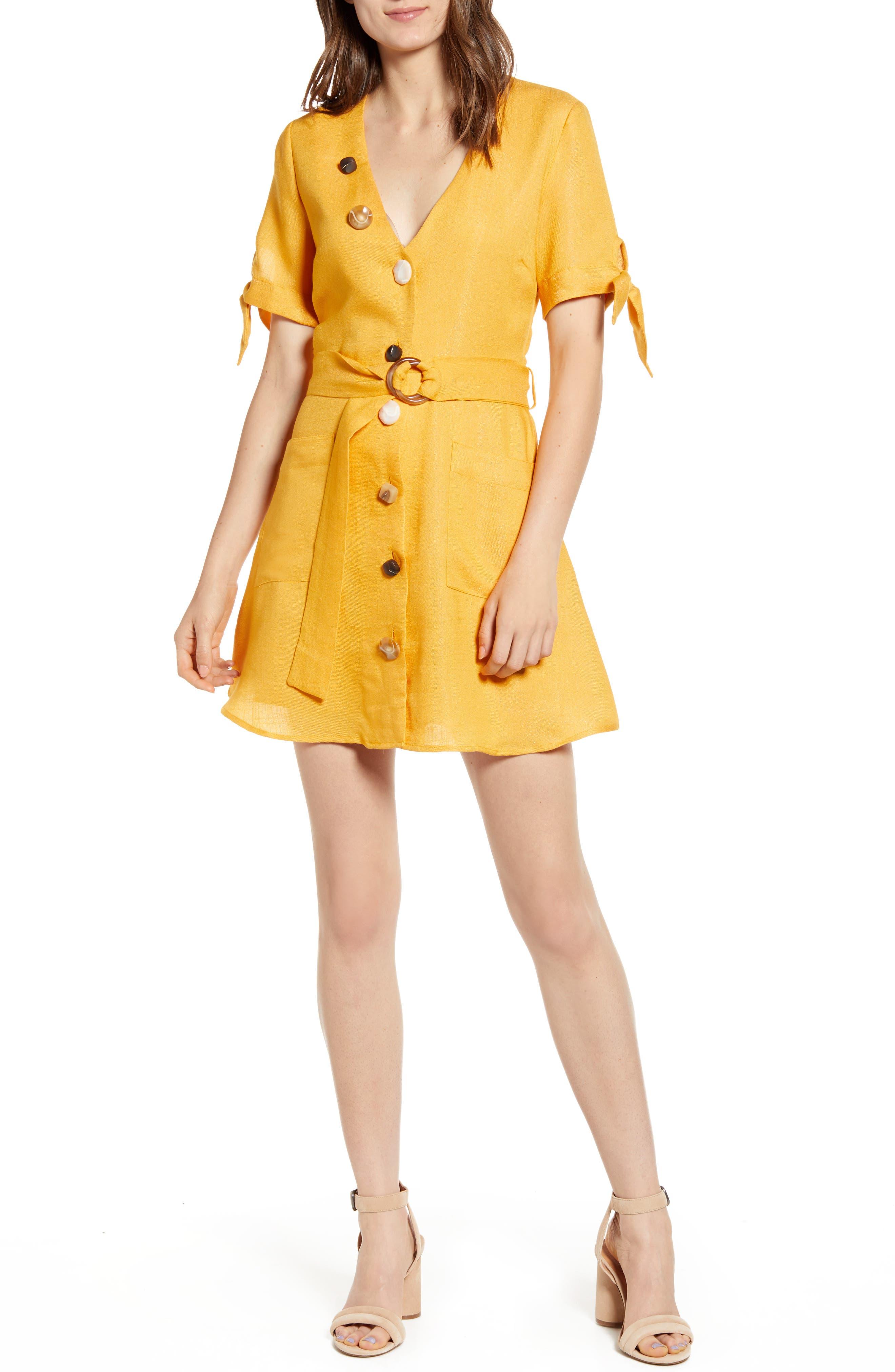 Moon River Mixed Button Tie Sleeve Minidress, Orange