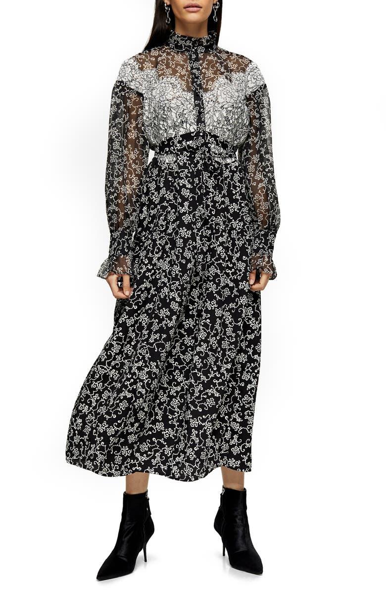 TOPSHOP Floral Lace Long Sleeve Shirtdress, Main, color, BLACK MULTI