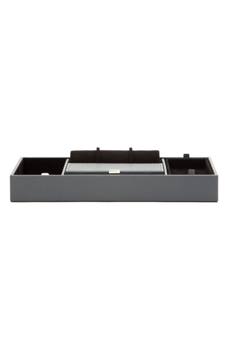 WOLF Howard Valet Jewelry Tray with Tie Roll, Main, color, GREY