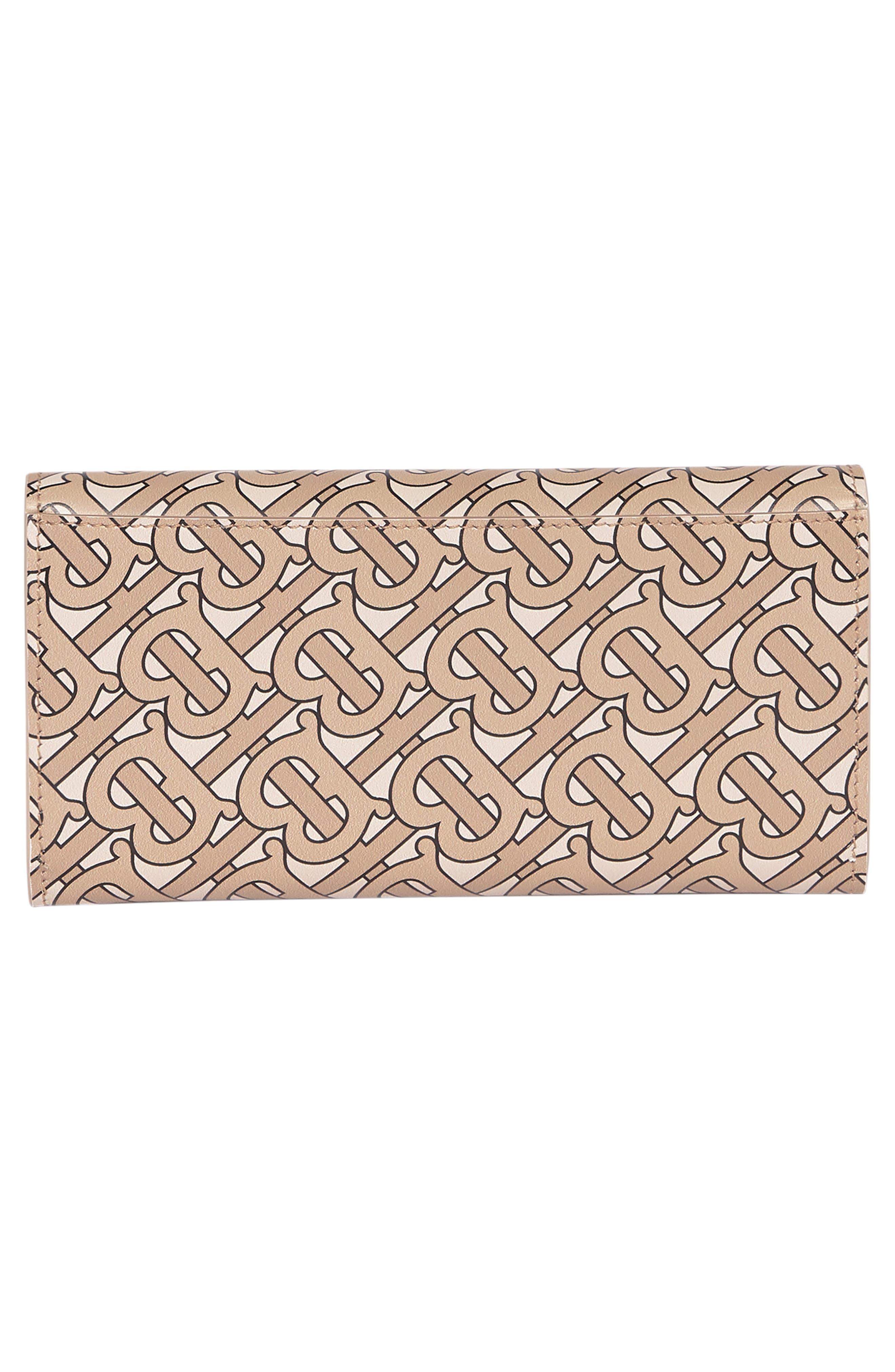 ,                             Halton Logo Print Calfskin Leather Continental Wallet,                             Alternate thumbnail 3, color,                             BEIGE