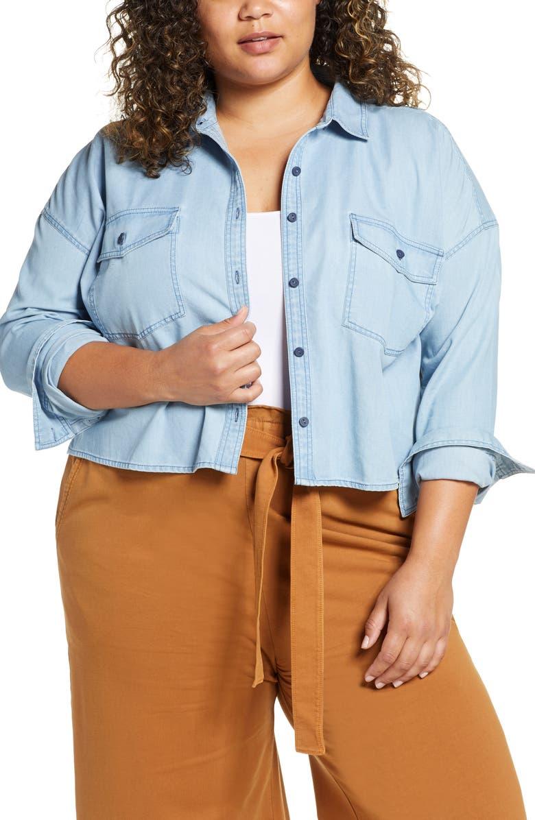 BP. Chambray Shirt Jacket, Main, color, 450