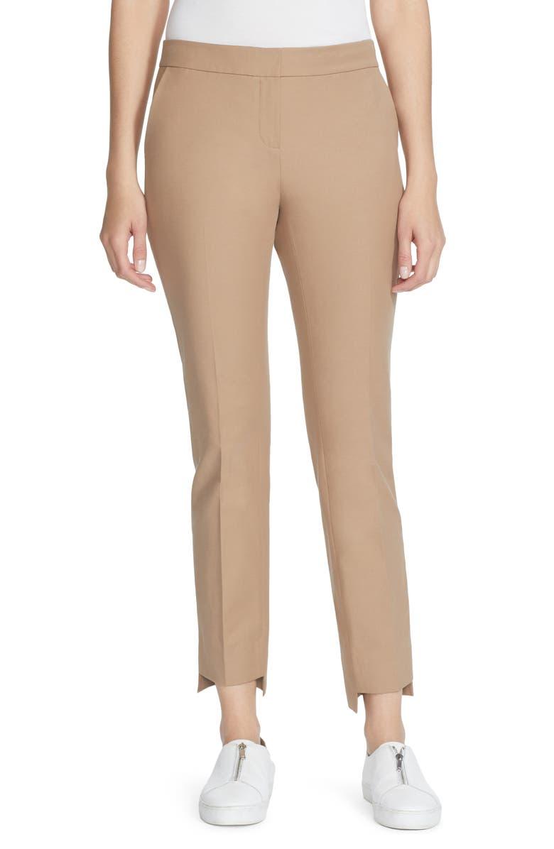 LAFAYETTE 148 NEW YORK Manhattan Step Hem Slim Pants, Main, color, CAMMELLO