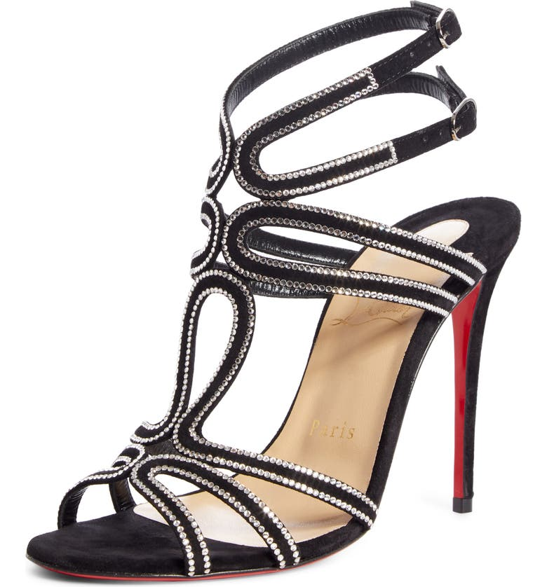 CHRISTIAN LOUBOUTIN Renee Crystal Embellished Sandal, Main, color, BLACK/ SILVER