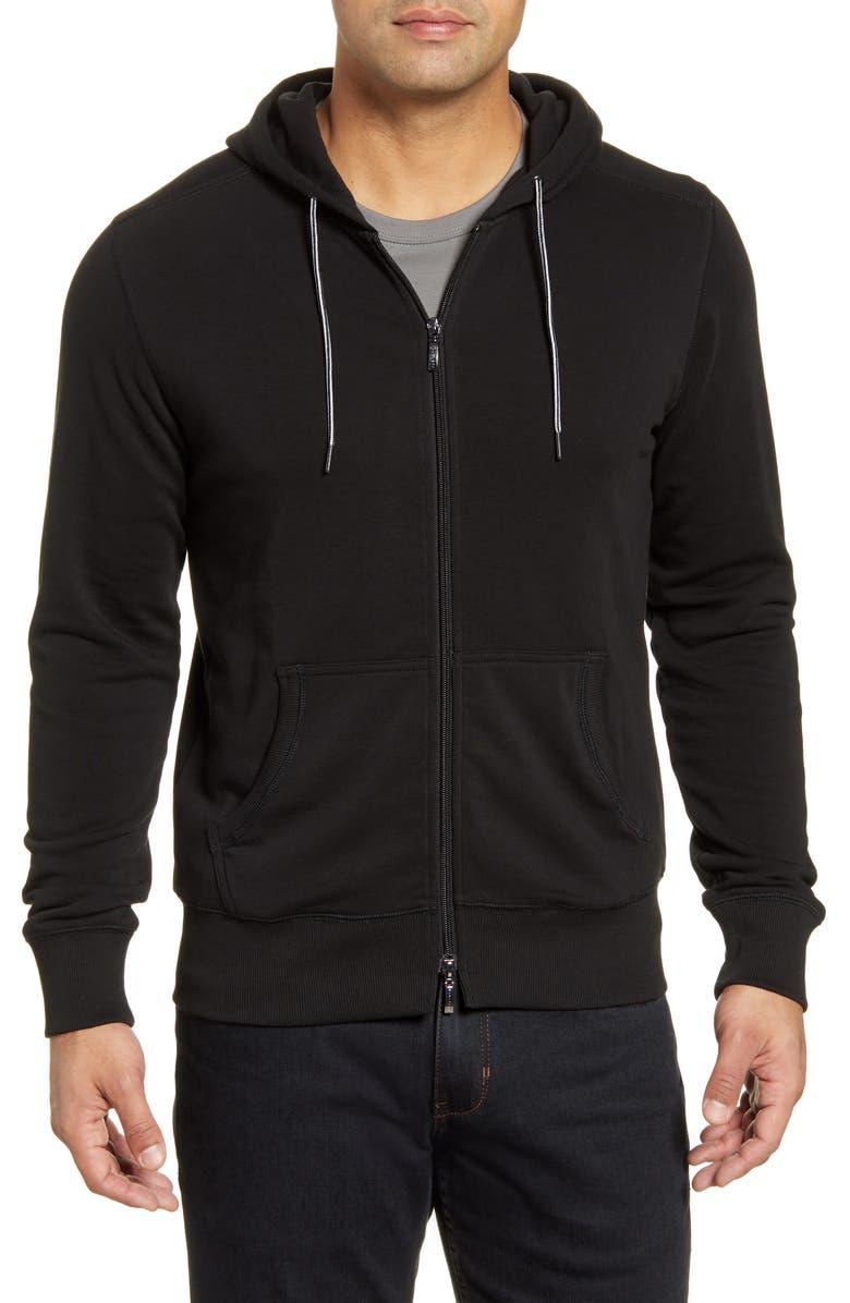 ROBERT BARAKETT Dobie Zip Hoodie, Main, color, BLACK