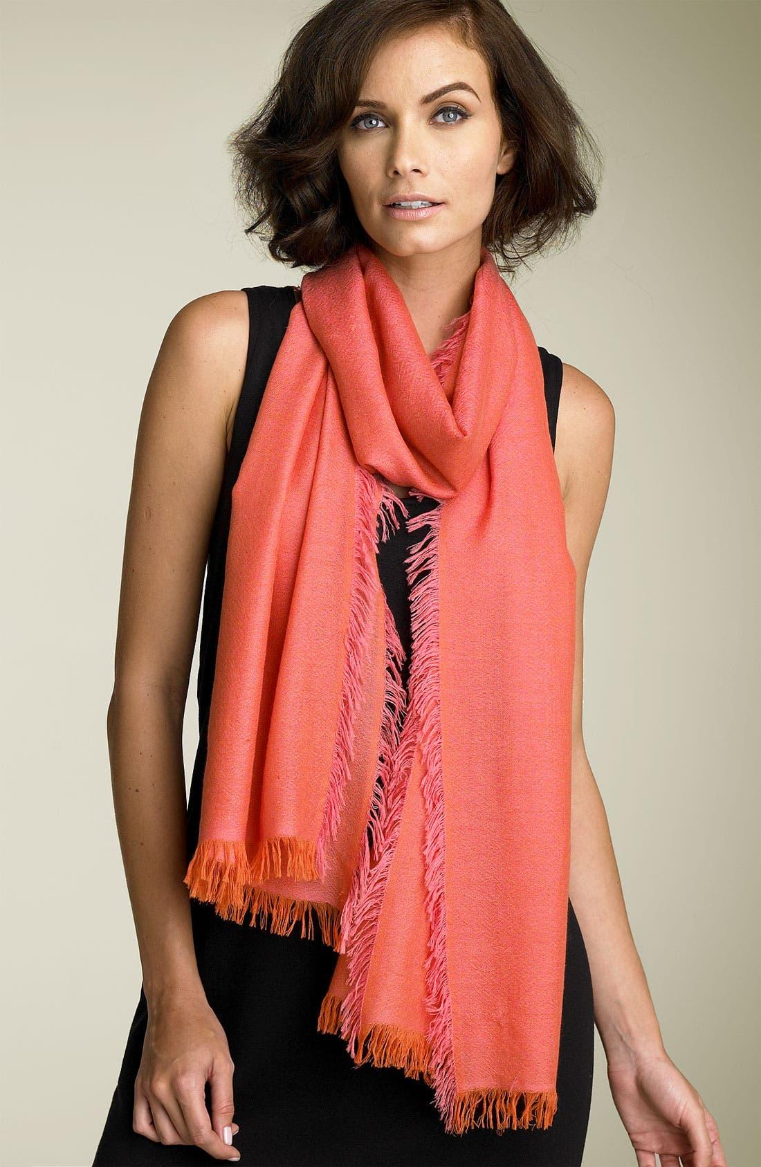 ,                             'Eyelash' Colorblock Cashmere Wrap,                             Main thumbnail 112, color,                             950