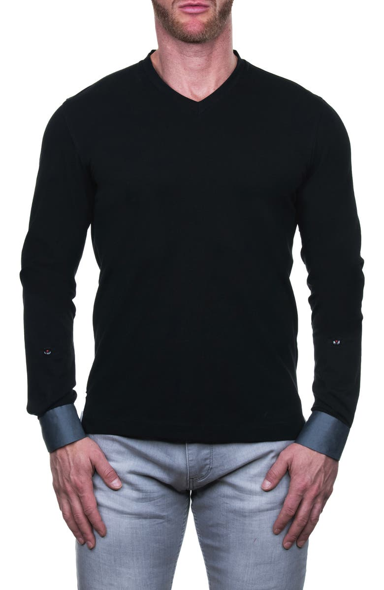 MACEOO Edison Trim Fit Long Sleeve V-Neck T-Shirt, Main, color, 007