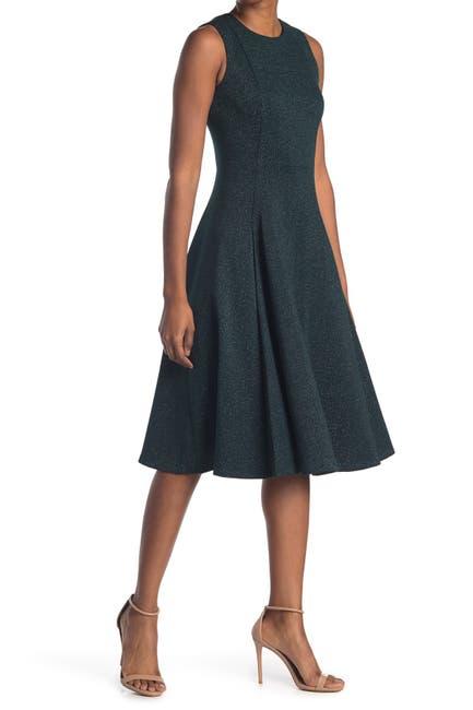 Image of Calvin Klein Glitter Scuba Fit and Flare Mini Dress