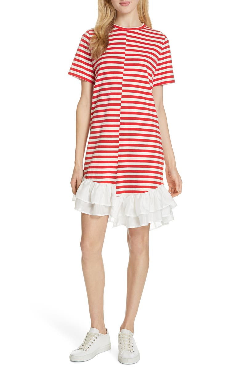 CLU Stripe Ruffle Hem Asymmetrical Dress, Main, color, 624