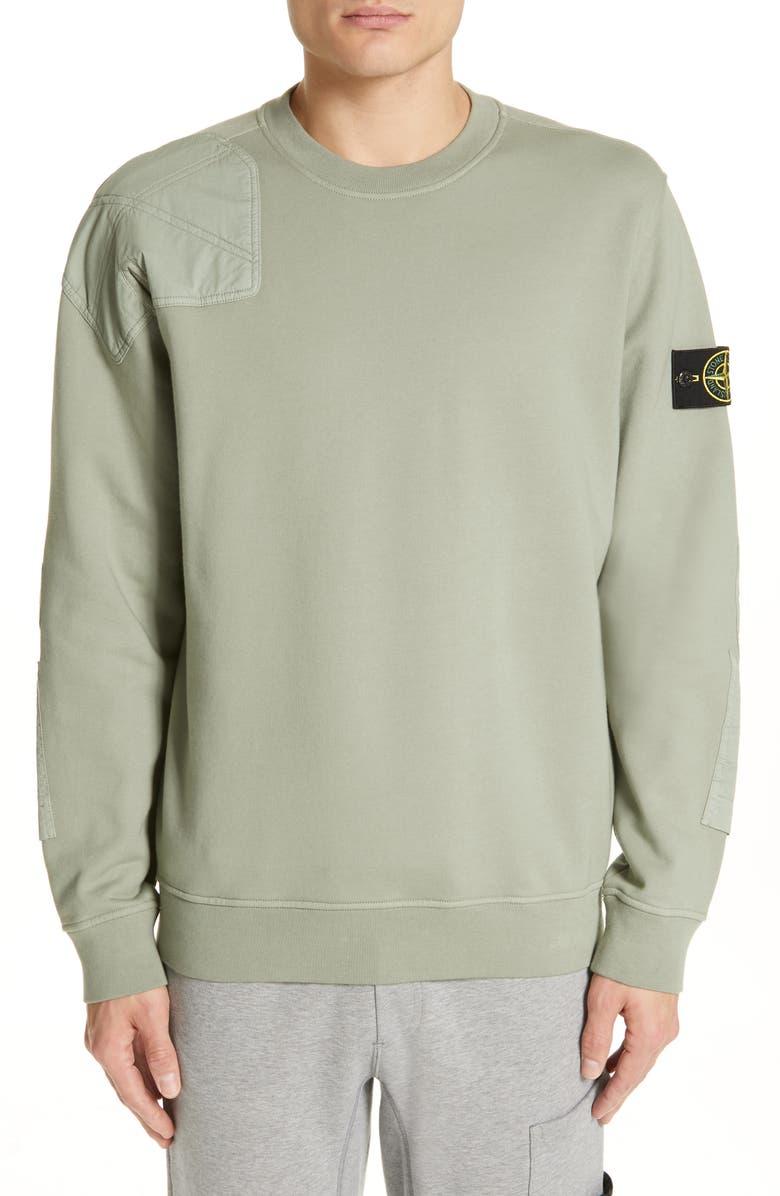 STONE ISLAND Mixed Media Sweatshirt, Main, color, 300